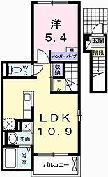 兵庫県姫路市広畑区小松町3丁目の賃貸アパートの間取り