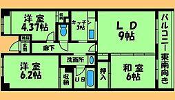 JR横浜線 古淵駅 徒歩17分の賃貸マンション 2階3LDKの間取り
