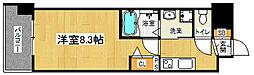 「アスヴェル京都太秦」 4階1Kの間取り