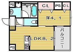 大阪府茨木市天王1丁目の賃貸マンションの間取り