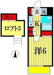 埼玉県越谷市弥生町の賃貸アパートの間取り