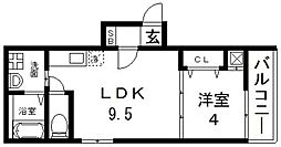 F mirai Roost(エフミライルースト) 3階1LDKの間取り