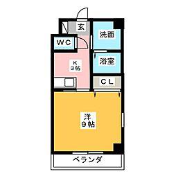 シャトーボナールII[1階]の間取り