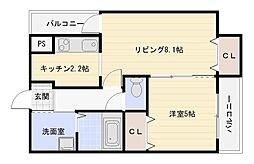大阪府大阪市平野区瓜破2丁目の賃貸アパートの間取り