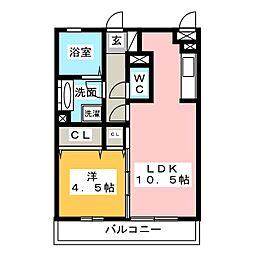 静岡県静岡市清水区下野中の賃貸アパートの間取り