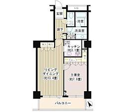東急東横線 代官山駅 徒歩1分の賃貸マンション 14階1LDKの間取り