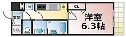 JR大阪環状線 森ノ宮駅 徒歩5分の賃貸マンション 2階1Kの間取り