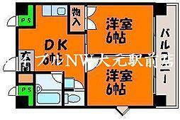 パートナー奥田[3階]の間取り
