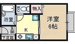 入江ハイツ4 1階1Kの間取り