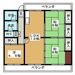 桃山住宅14棟202号[2階]の間取り