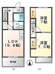 [テラスハウス] 愛知県清須市寺野池端 の賃貸【/】の間取り