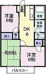 大阪府八尾市高安町北6丁目の賃貸アパートの間取り