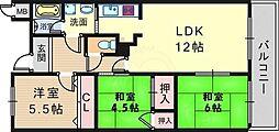 阪急千里線 南千里駅 徒歩18分の賃貸マンション 5階3LDKの間取り