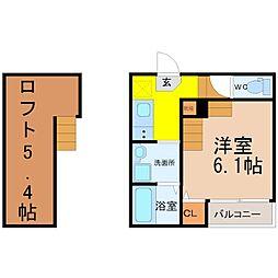 愛知県名古屋市天白区井の森町の賃貸アパートの間取り