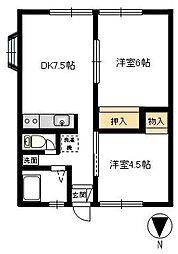 高田ハイツA[202号室]の間取り