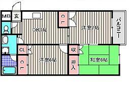 フィルコート東羽倉崎 B棟[3階]の間取り