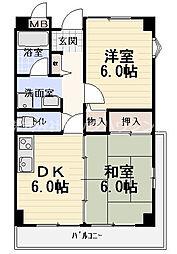 コートレックス 3階2DKの間取り