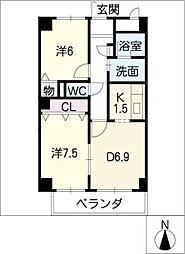 グレース堀田[8階]の間取り