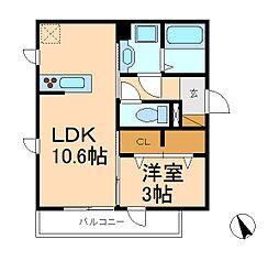 千葉県松戸市秋山2丁目の賃貸アパートの間取り