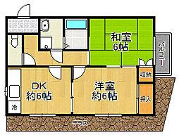 兵庫県宝塚市平井5丁目の賃貸アパートの間取り