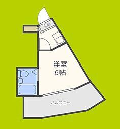 スカイコート恵美須 10階1Kの間取り