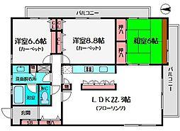 T-WIN清水町[6階]の間取り