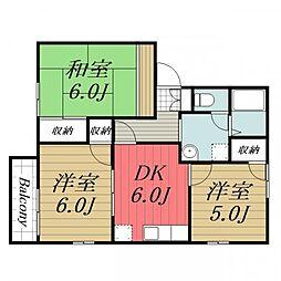 千葉県成田市美郷台3丁目の賃貸アパートの間取り