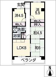 ピュアコート[4階]の間取り
