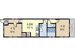 かわさきマンション[3階]の間取り