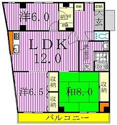 千葉県松戸市六実3丁目の賃貸マンションの間取り