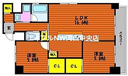 富田町二丁目マンション(仮) 8階2LDKの間取り