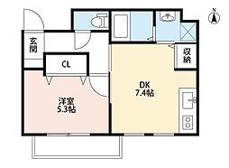福岡県北九州市小倉北区末広1丁目の賃貸マンションの間取り
