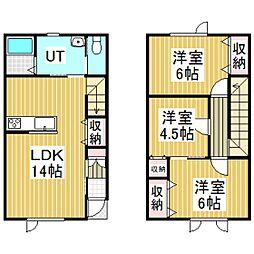 啓北町新築メゾネットアパート[C号室]の間取り
