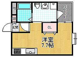シャンテー宮之阪 1階ワンルームの間取り