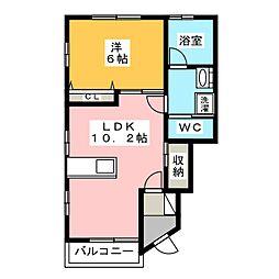 グランツリー富塚 1階1LDKの間取り