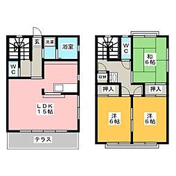 [テラスハウス] 愛知県岡崎市竜美東3丁目 の賃貸【/】の間取り