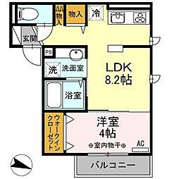 東京都練馬区高野台5丁目の賃貸アパートの間取り