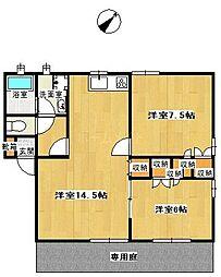 プリムローズA棟[1階]の間取り