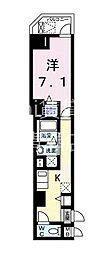 西武国分寺線 東村山駅 徒歩3分の賃貸マンション 2階1Kの間取り