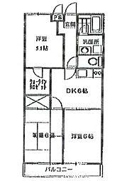 グランハイム駒[3階]の間取り