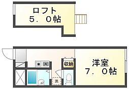 香川県丸亀市風袋町の賃貸アパートの間取り