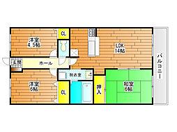 ベルメゾン道明寺[6階]の間取り
