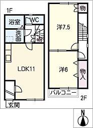 [タウンハウス] 愛知県あま市森山弁才天 の賃貸【/】の間取り