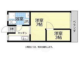 JR中央線 武蔵小金井駅 バス3分 前原町下車 徒歩3分の賃貸アパート 2階2Kの間取り