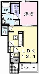 パークサイド田寺 1階1LDKの間取り
