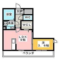 ルーチェ勝川 2階1LDKの間取り