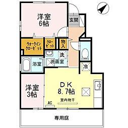 ディアコートA棟[1階]の間取り