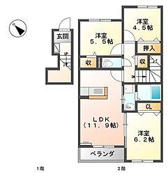 (仮)宇部市妻崎開作新築アパート[202号室]の間取り