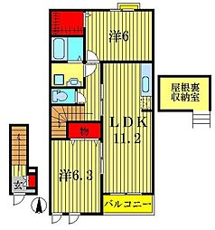 ガーデンヒルズ24A・B[2階]の間取り