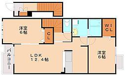 ネオウィステリアB[2階]の間取り
